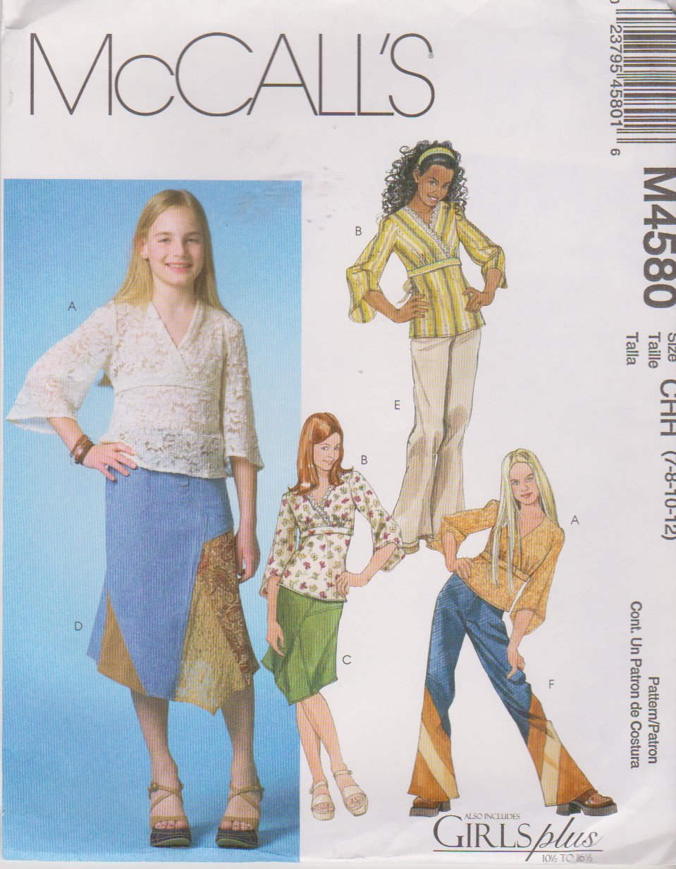 McCall�s Sewing Pattern 4580 M4580 Girls Size 7-12 Pullover Tops Tunics Skirts Pants
