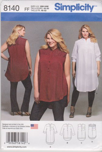 Simplicity Sewing Pattern 8140 Womens Plus Size 18W-24W Button Front Shirt Sleeve Length Options