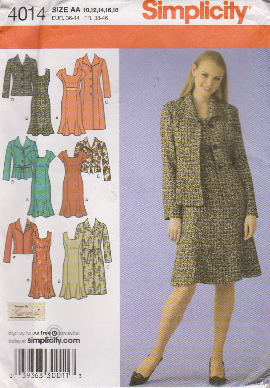 Simplicity Sewing Pattern 4014 Misses Size 10-18 Princess Seam Dress Long Sleeve Coat Jacket