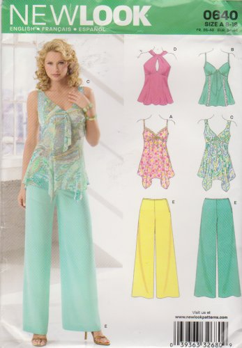 New Look Sewing Pattern 0640 6606 Misses Sizes 8-18 Wide Leg Pants Halter Camisole Style Tops