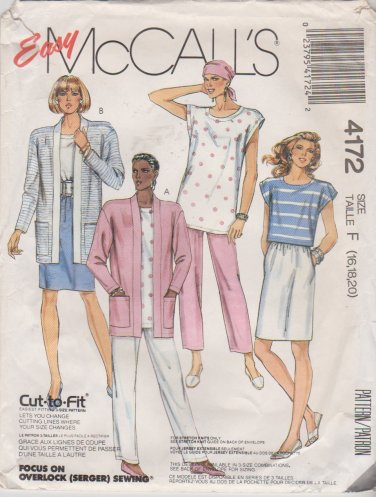 McCall's Sewing Pattern 4172 M4172 Misses Size 16-20 Easy Knit Wardrobe Top Skirt Pants Cardigan