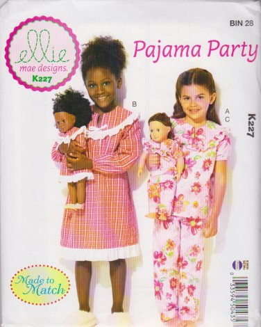 "Kwik Sew Sewing Pattern K227 0227 Girls Sizes 3-10 18"" Doll Clothes Pajamas Nightgown"