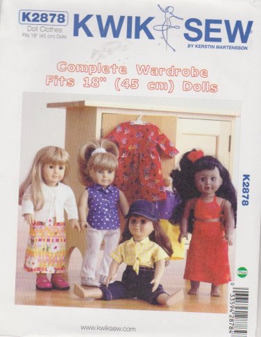 """Kwik Sew Sewing Pattern 2878 K2878 18"""" Doll Complete Casual Wardrobe Clothes"""
