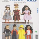 "Kwik Sew Sewing Pattern 2921 K2921 18"" Doll Clothes Dresses Raincoat Overalls Yoga Clothes"