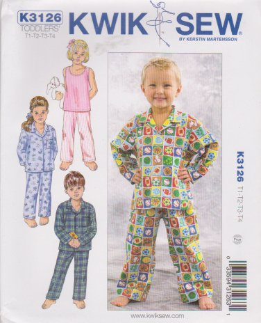 Kwik Sew Sewing Pattern 3126 K3126 Toddlers Size T1-T4 Sleepwear Pants Pajama Shirt Knit Tank Top