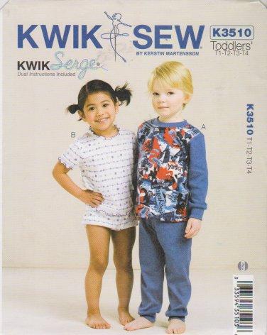 Kwik Sew Sewing Pattern 3510 K3510 Boys Girls Size T1-T4 Knit Pajamas Tops Pants Shorts
