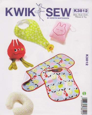 Kwik Sew Sewing 3812 K3812 Baby Infant Bibs Toys Pillows Burp Cloth Pacifier Holder