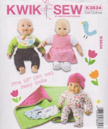 "Kwik Sew Sewing Pattern 3834 K3834 16"" Baby Doll Clothes Wardrobe"