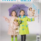 "Kwik Sew Sewing Pattern 3941 K3941 Girls 3-10 (XXS-L) Doll 18"" Raincoats Optional Hood"
