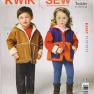 Kwik Sew Sewing Pattern 3957 K3957 Toddler Size T1-T4 Zipper Front Hooded Jackets
