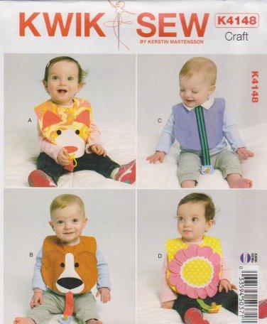 Kwik Sew Sewing Pattern 4148 K4148 Baby Infant Toddler Decorative Bibs Pacifier Holder