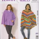 Kwik Sew Sewing Pattern 4193 K4193 Misses Sizes XS - XL Ponchos Optional Hood Kanagroo Pocket