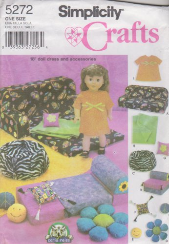 "Simplicity Sewing Pattern 5272 18"" Doll Accessories Couch Bed Bean Bag Chair Dress"