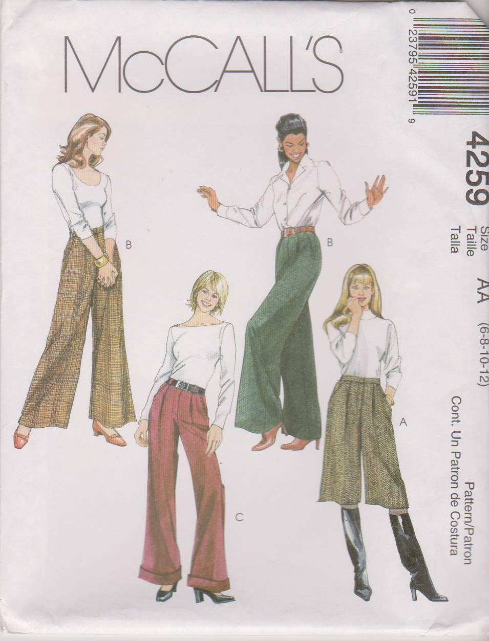 McCall's Sewing Pattern 4259 M4259 Misses Size 6-12 Pleated Pants Trousers Slacks Culottes Gauchos