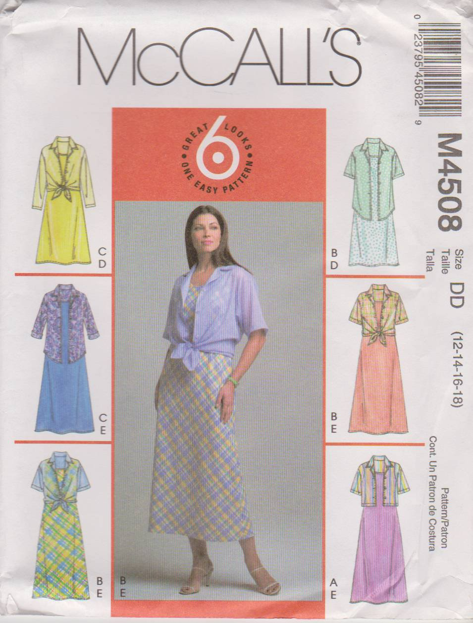McCall�s Sewing Pattern 4508 M4508 Misses Size 12-18 Pullover Sleeveless Dress Button Front Shirt