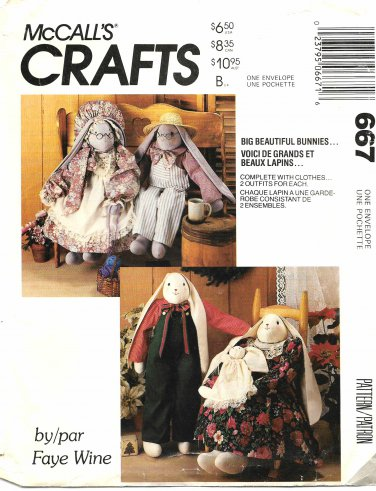 McCall's Sewing Pattern 0667 M0667 Big Cloth Bunny Dolls Clothes Baby Bunny