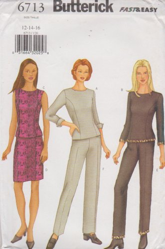 Butterick Sewing Pattern 6713 B6713 Misses Size 12-16 Easy Top Skirt Pants