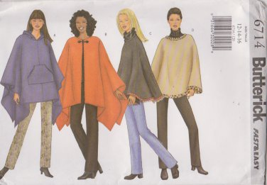 Butterick Sewing Pattern 6714 B6714 Misses' Sizes 12-16 Easy Hooded Poncho Pants