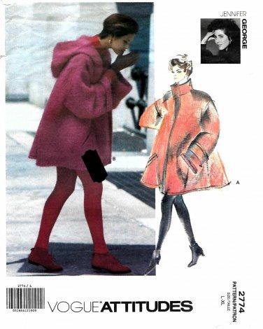 Vogue Sewing Pattern 2774 V2774 Misses Size 16-22 Jennifer George Swing Coat Hood