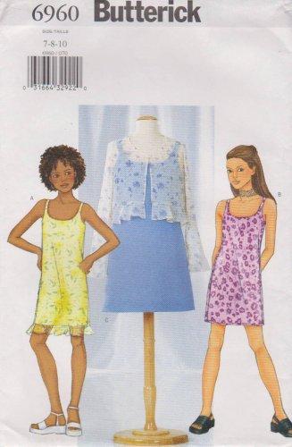Butterick Sewing Pattern 6960 B6960 Girls' Sizes 7-10 Easy Jacket Bolero Lined Slip Dress
