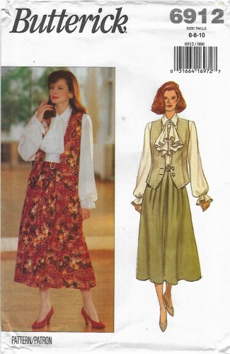 Butterick Sewing Pattern 6912 B6912 Misses Sizes 6-10 Easy Vest Blouse Jabot Skirt