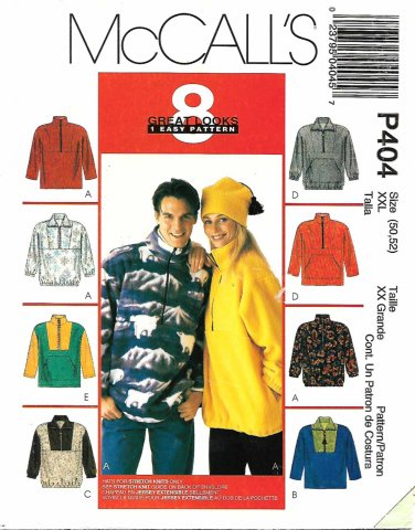 McCall's Sewing Pattern P404 MP404 Misses Mens Size 50-52 Pullover Zipper Front Top Hat