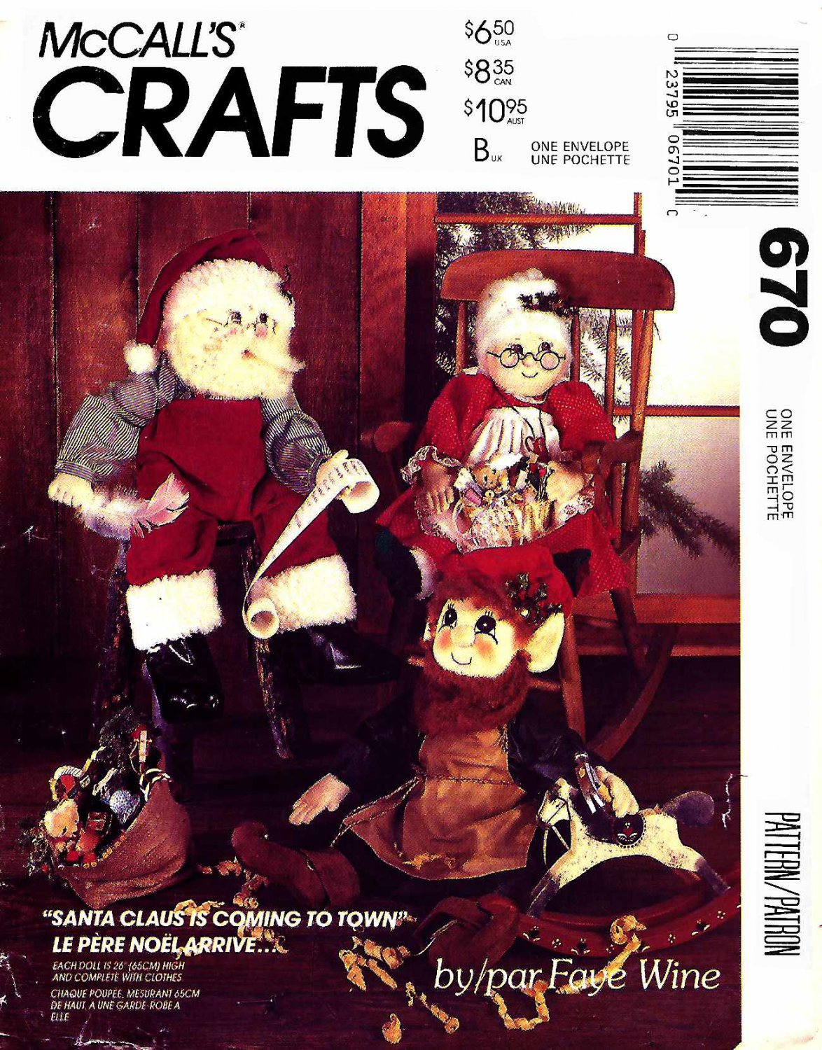 "McCall's Sewing Pattern 670 M670 Santa Mrs. Claus Elf Dolls 26"" Tall Clothes Faye Wine"