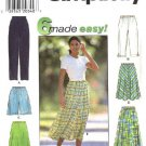 Simplicity Sewing Pattern 7655 Misses Size 6-16 Easy Flared Skirt Long Cropped Pants Shorts