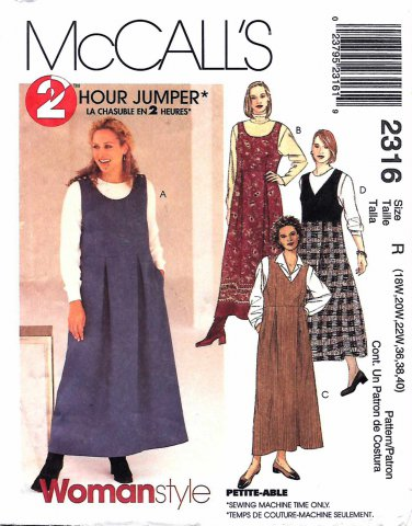 McCall's Sewing Pattern 2316 M2316 Women's Plus Sizes 18W-22W  Two Hour Jumper