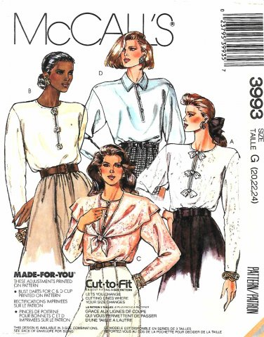 McCall's Sewing Pattern 3993 M3993 Missses Size 20-24 Long Sleeve Blouse