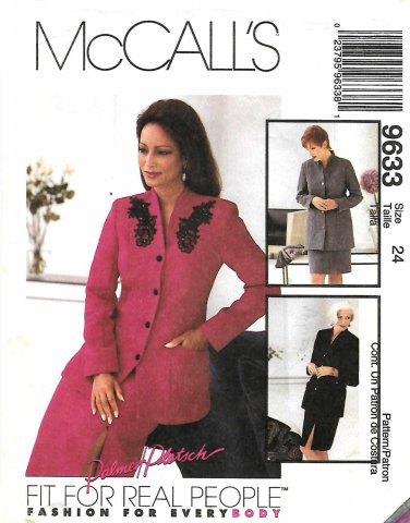 McCall's Sewing Pattern 9633 M9633 Misses Size 22 Lined Jacket Skirt Suit Palmer/Pletsch