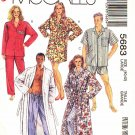 McCall's Sewing Pattern 5683 M5683 Mens Misses Size Large 40-42 Easy Robe Pajamas Button Front Top