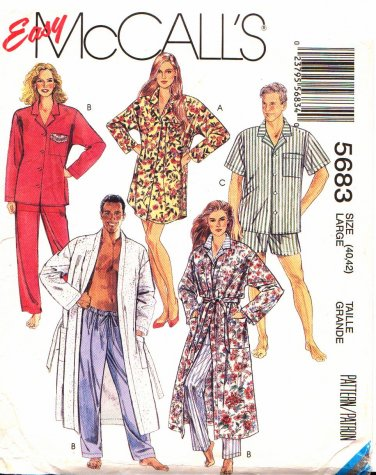 McCall�s Sewing Pattern 5683 M5683 Mens Misses Size Large 40-42 Easy Robe Pajamas Button Front Top