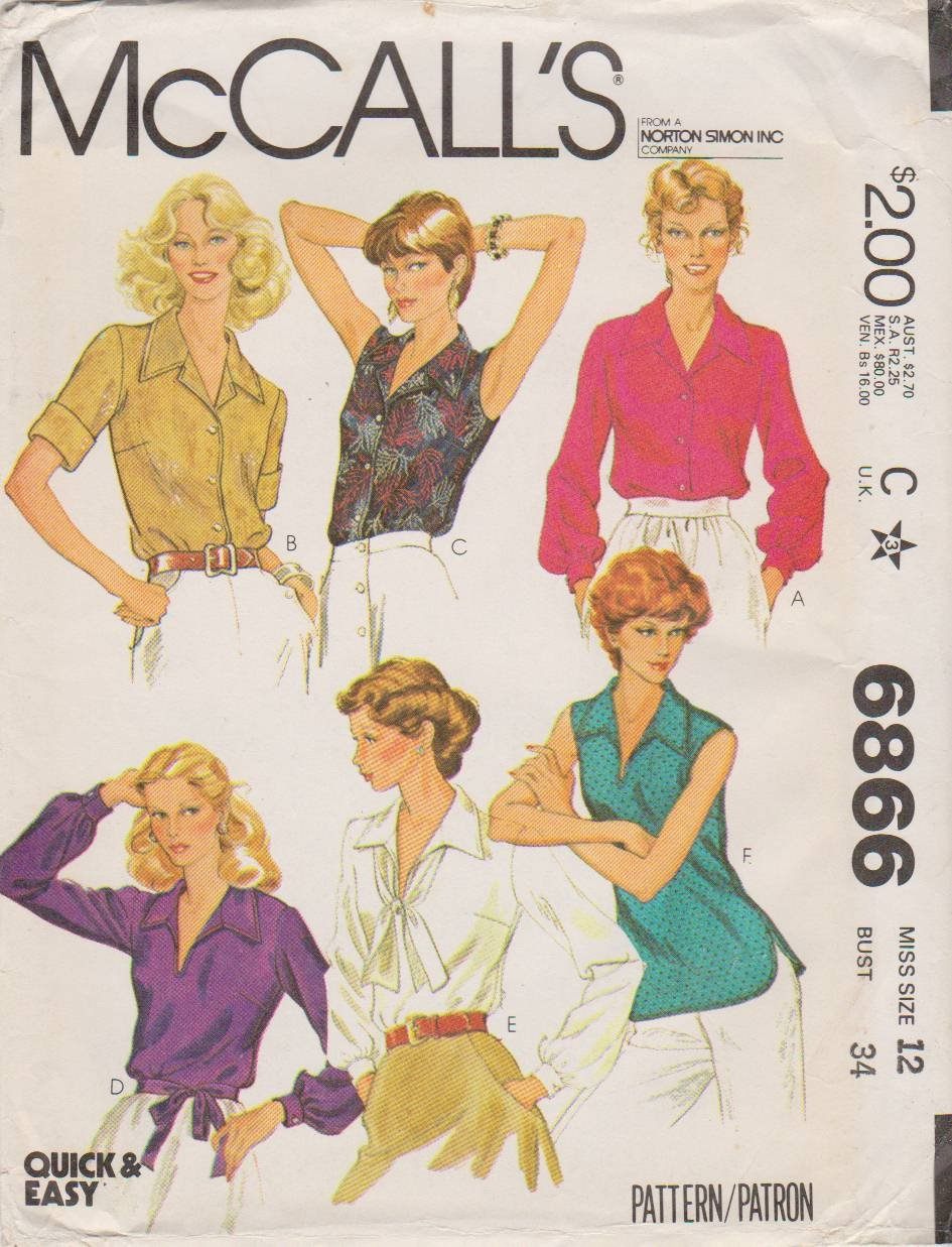 McCall's Sewing Pattern 6866 M6866 Misses Size 12 Easy Classic Pullover or Button Front Blouse