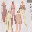 McCall's Sewing Pattern 7494 M7494 Misses Size 10-14 Wardrobe Top Tunic Pants Duster Vest Jacket