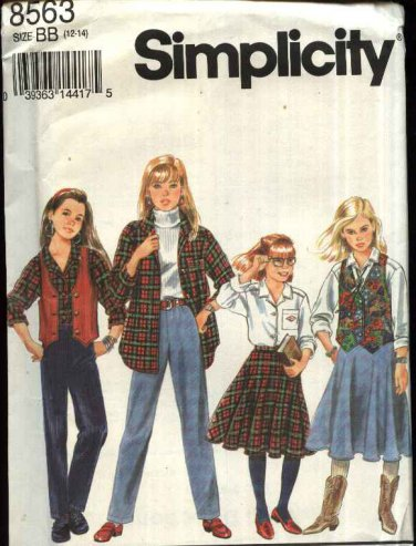 Simplicity Sewing Pattern 8563 Girls size 7-10 Wardrobe Circle Skirt Long Pants Vest Shirt