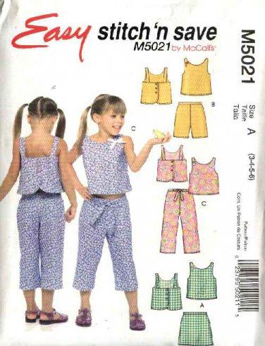 McCall's Sewing Pattern 5021 M5021 Girls Size 3-6 Easy Summer Wardrobe Top Skort Shorts Pants