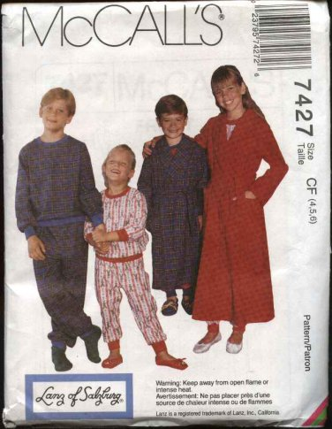 McCall's Sewing Pattern 7427 M7427 Boys Girls Size 10-14 Wrap Robes Pajamas Pullover Top Pants