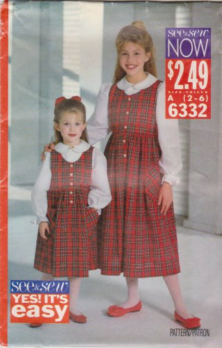 Butterick Sewing Pattern 6332 B6332 Girls' Size 2-6 Easy Pullover Jumper Button Front Blouse