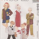McCall's Sewing Pattern 6846 M6846 Boys Girls Size 2-4 Easy Pajama Tops Pants Shorts Nightshirt