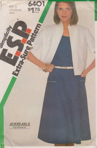 Simplicity Sewing Pattern 6401 Misses Size 16-20 Sleeveless Dress Unlined Jacket