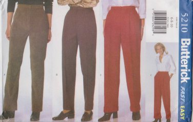 Butterick Sewing Pattern 5210 B5210 Misses Size 6-10 Easy Pants Three Styles