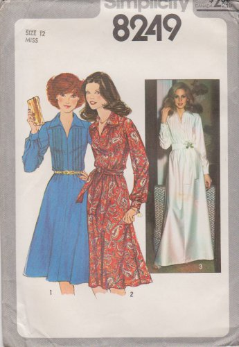 Simplicity Sewing Pattern 8249 Misses Size 12 Long Sleeve Dress Two Lengths