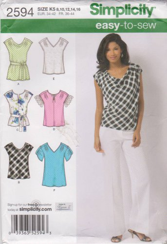 Simplicity Sewing Pattern 2594 Misses Sizes 8-16 Easy Pullover Tops Lengths Sleeve Neckline Options