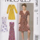 McCall's Sewing Pattern 7381 M7381 Misses Size 4-14 Dresses Pleated Skirt Sleeve Tie Options