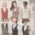 McCall's Sewing Pattern M4407 4407 Misses Size 12 Easy Button Front Lined Vest Tuxedo V-Neck