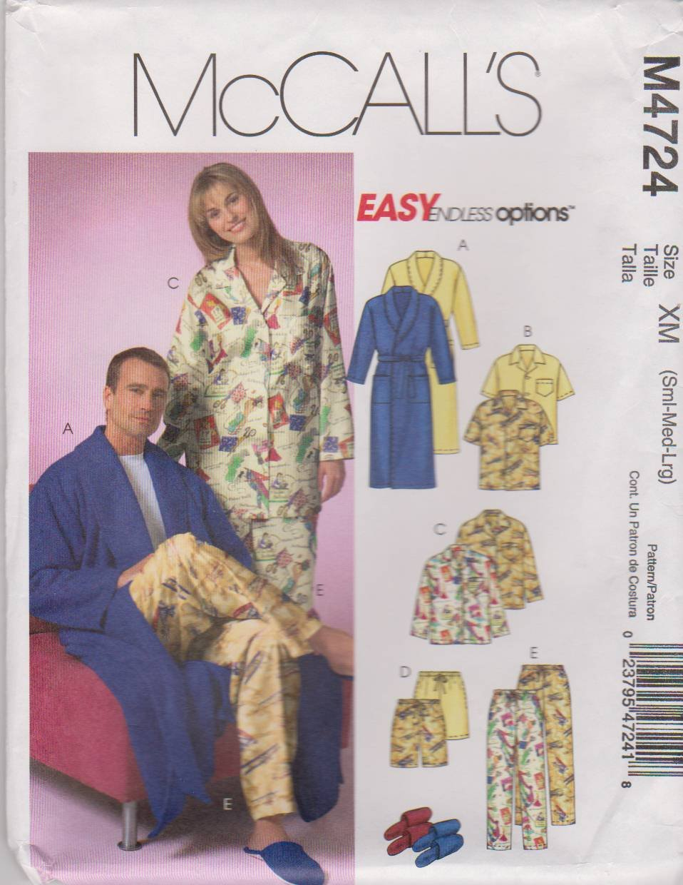 """McCall's Sewing Pattern M4724 4724 Misses Mens Unisex Chest Size 34-44"""" Easy Unisex Pajamas Bathrobe"""