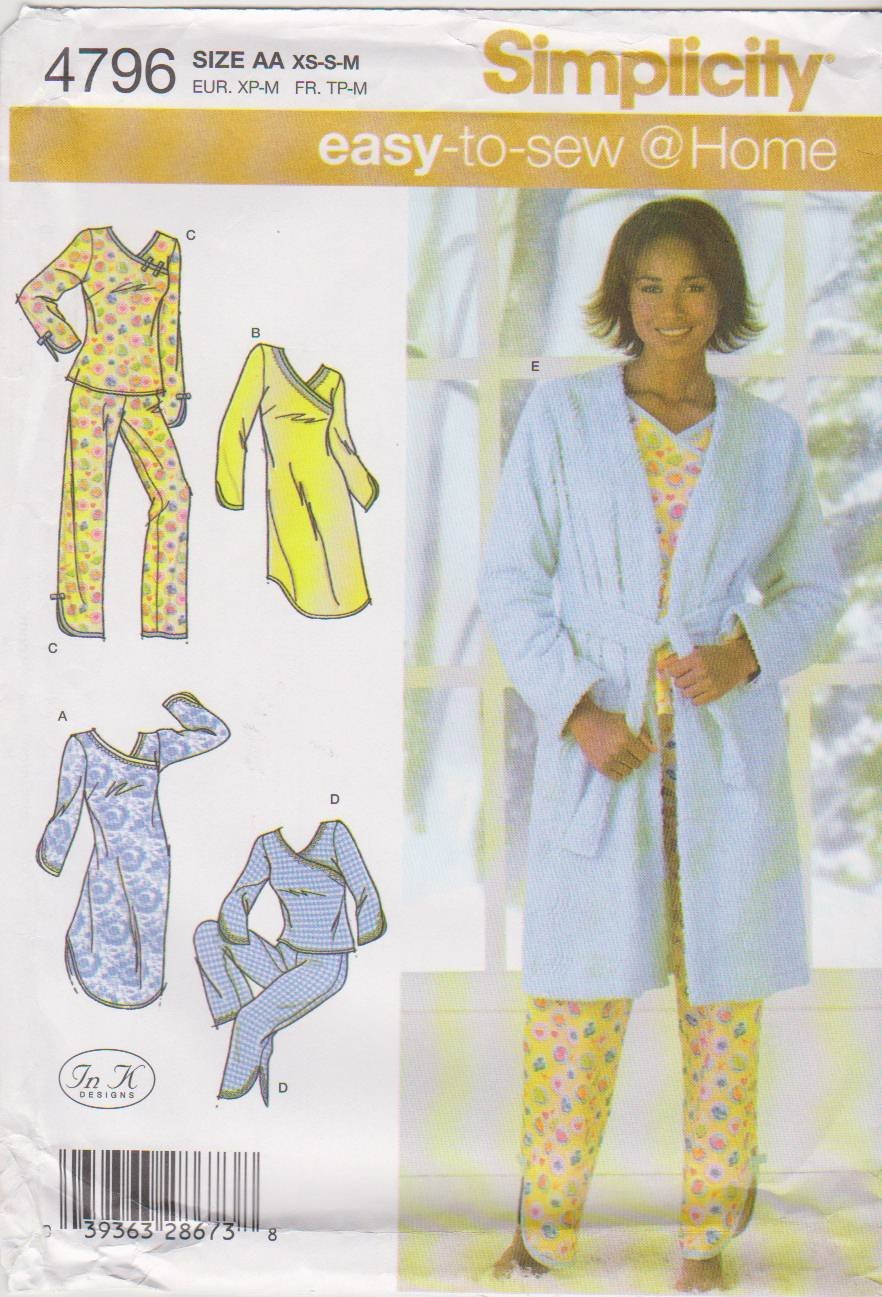 Simplicity Sewing Pattern 4796 Misses Size 6-16 Easy Pajamas Nightgown Robe Top Pants Bathrobe