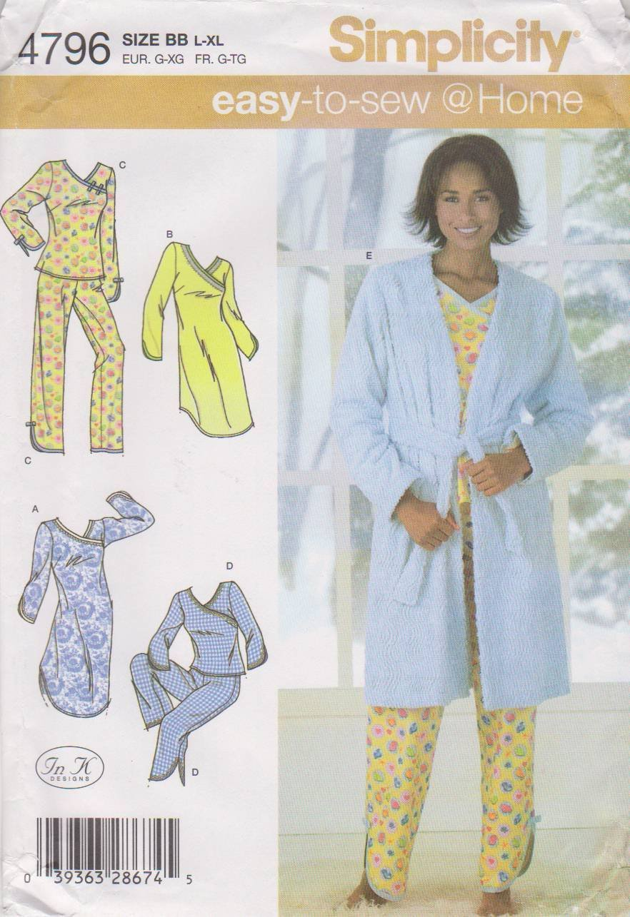 Simplicity Sewing Pattern 4796 Misses Size 18-24 Easy Pajamas Nightgown Robe Top Pants Bathrobe