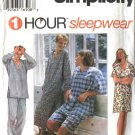 "Simplicity Sewing Pattern 9391 Misses Mens Size XS-M 30-40"" Sleepwear Pajamas Nightshirt Pants"